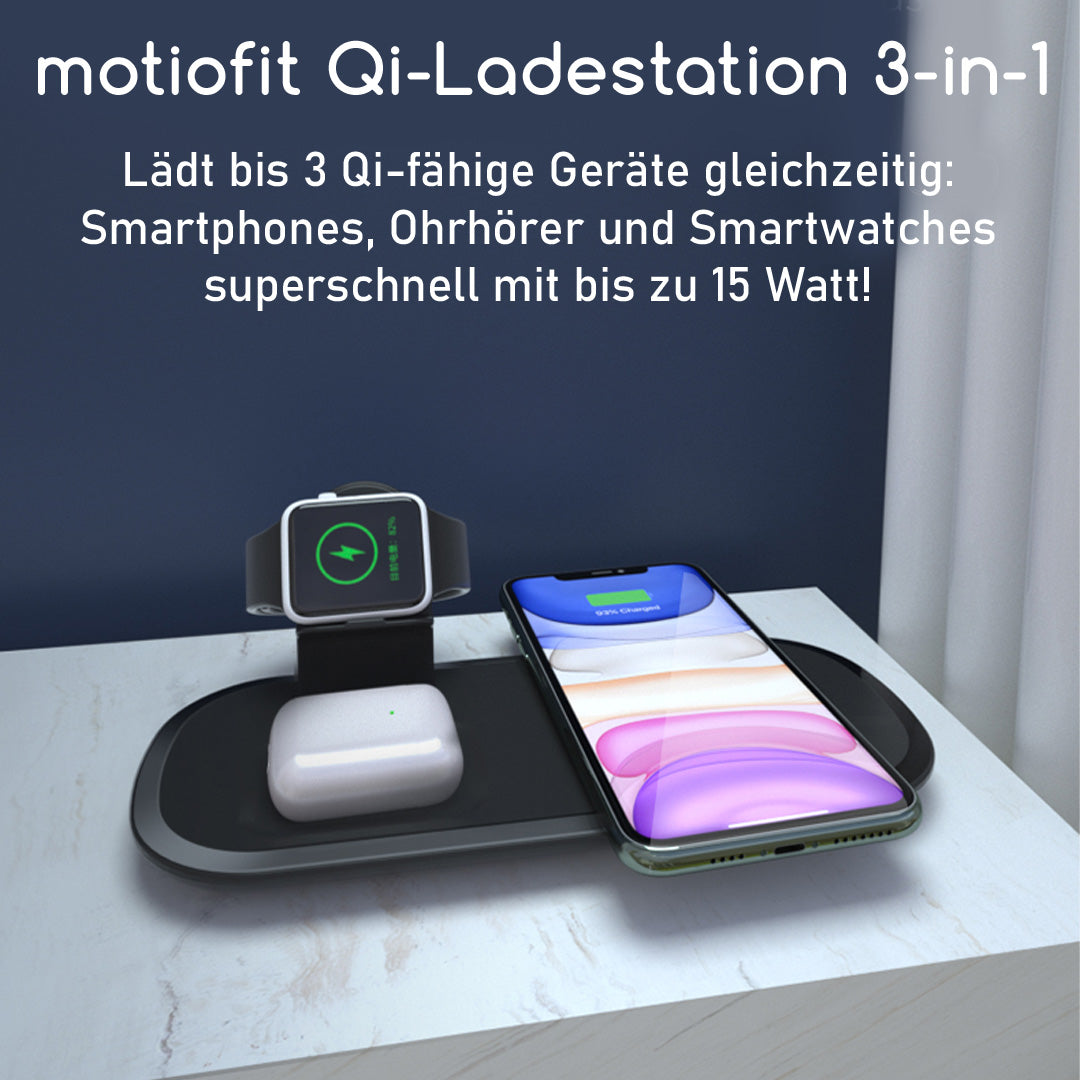 Drahtlose Qi-Ladestation 3-in-1