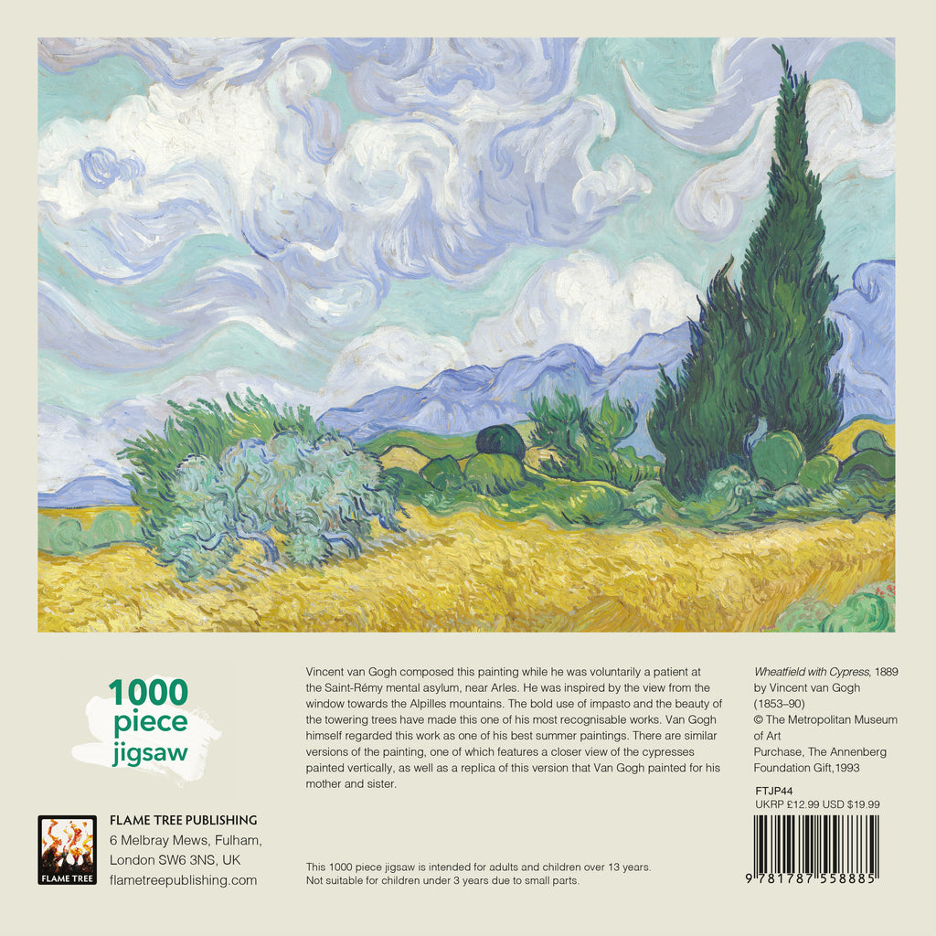 Wheatfield With Cypress, Van Gogh - 1000 Piece Puzzle