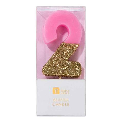 We Heart Birthday Glitter Number Pink Candle 2