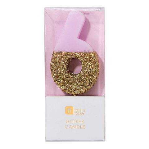 We Heart Birthday Glitter Number Pink Candle 6