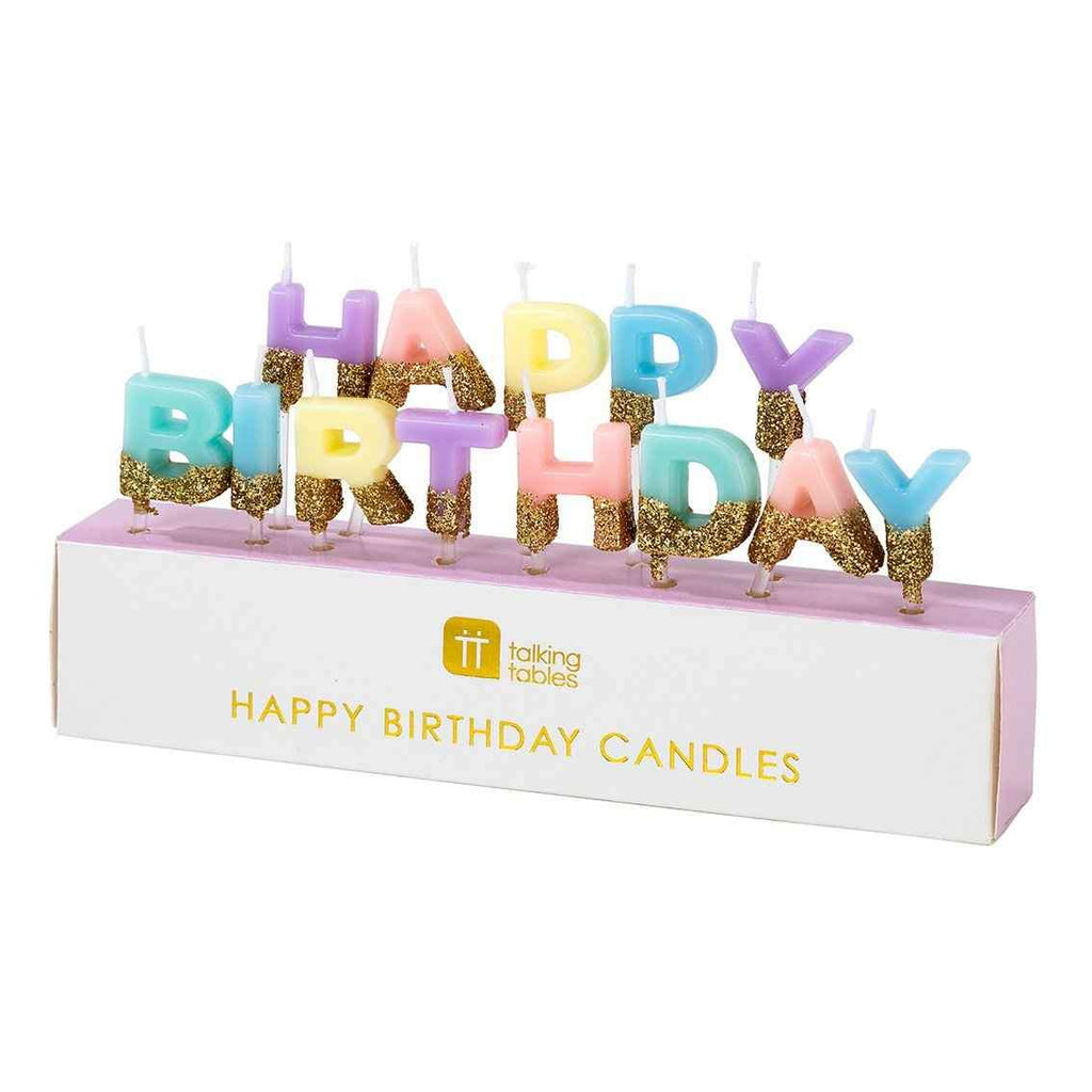 Glitter Dipped Happy Birthday Candles