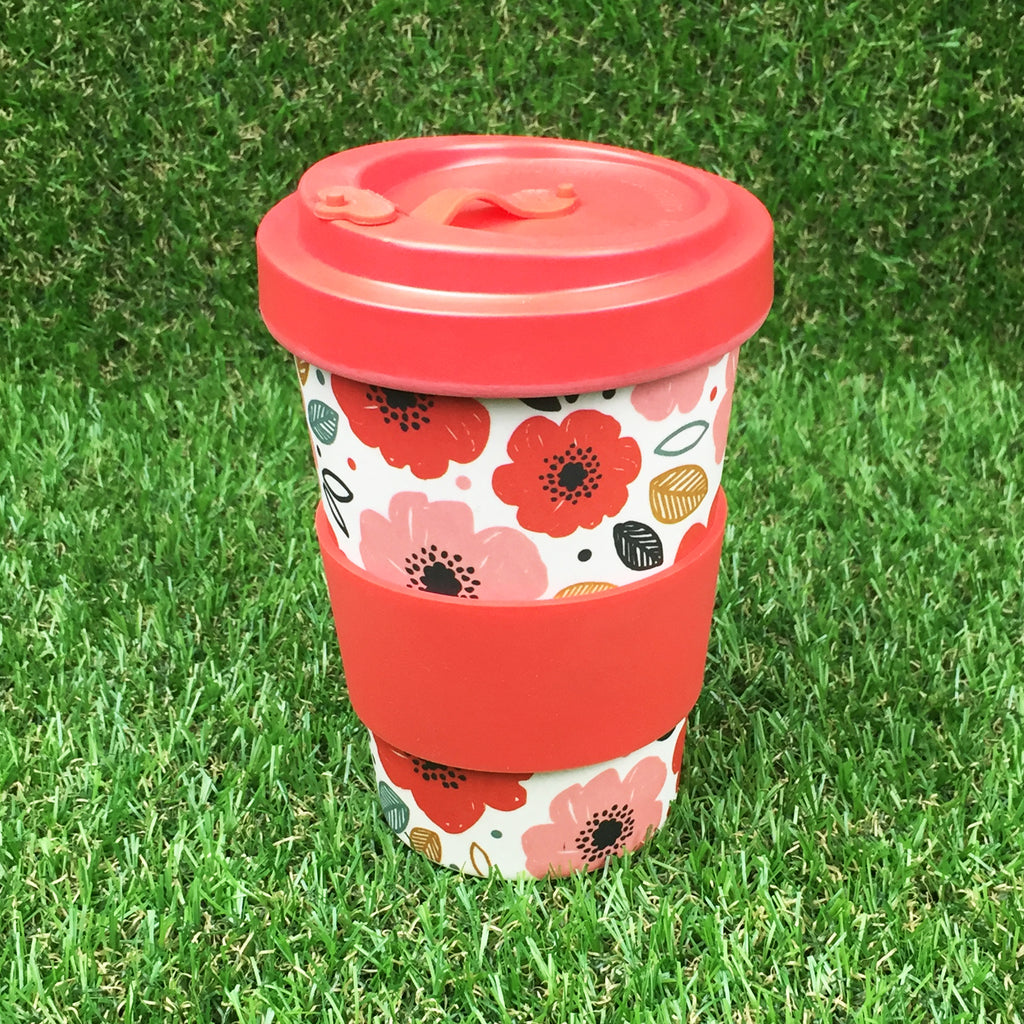 Bamboo Travel Cup - Poppies