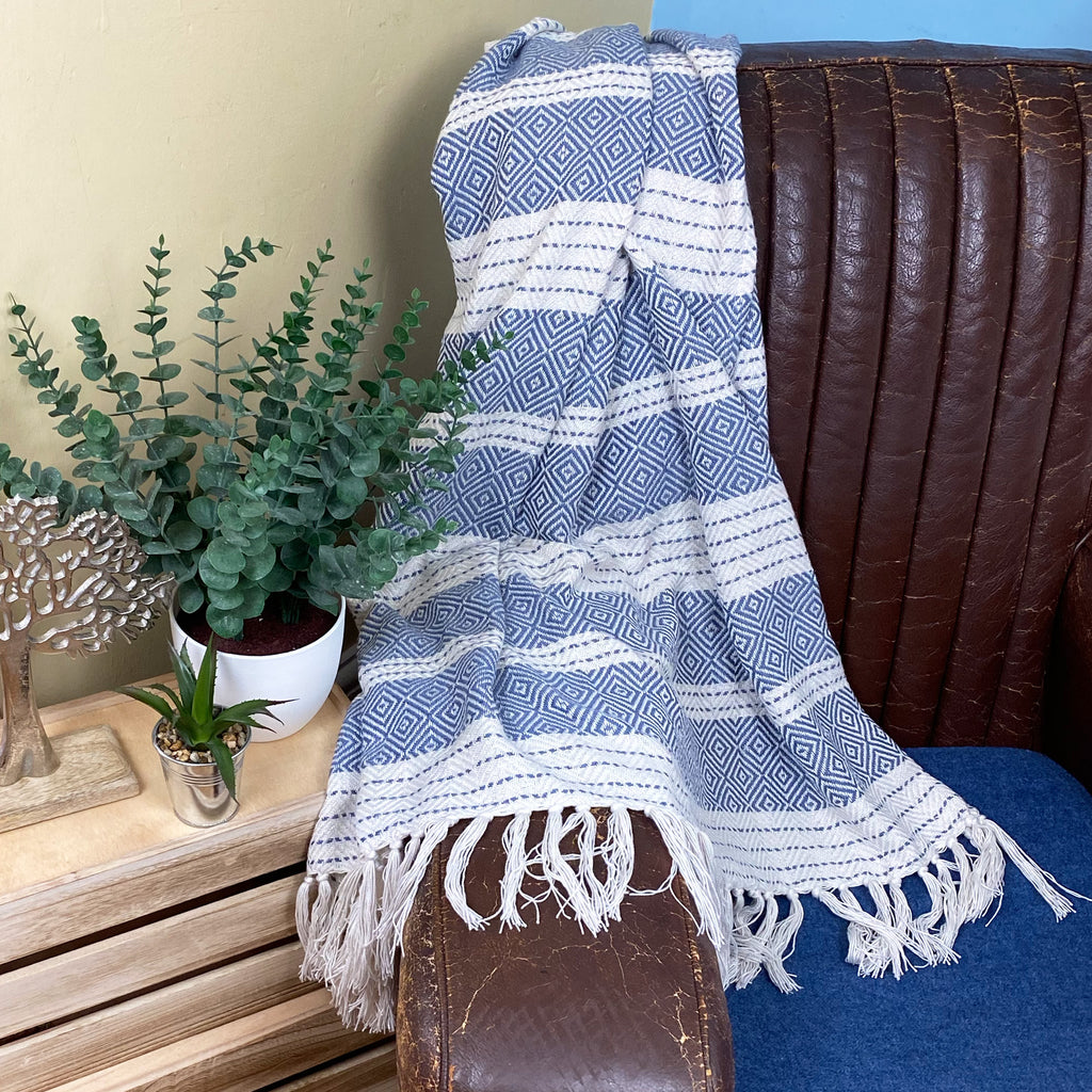 Blue Diamond Upcycled Throw