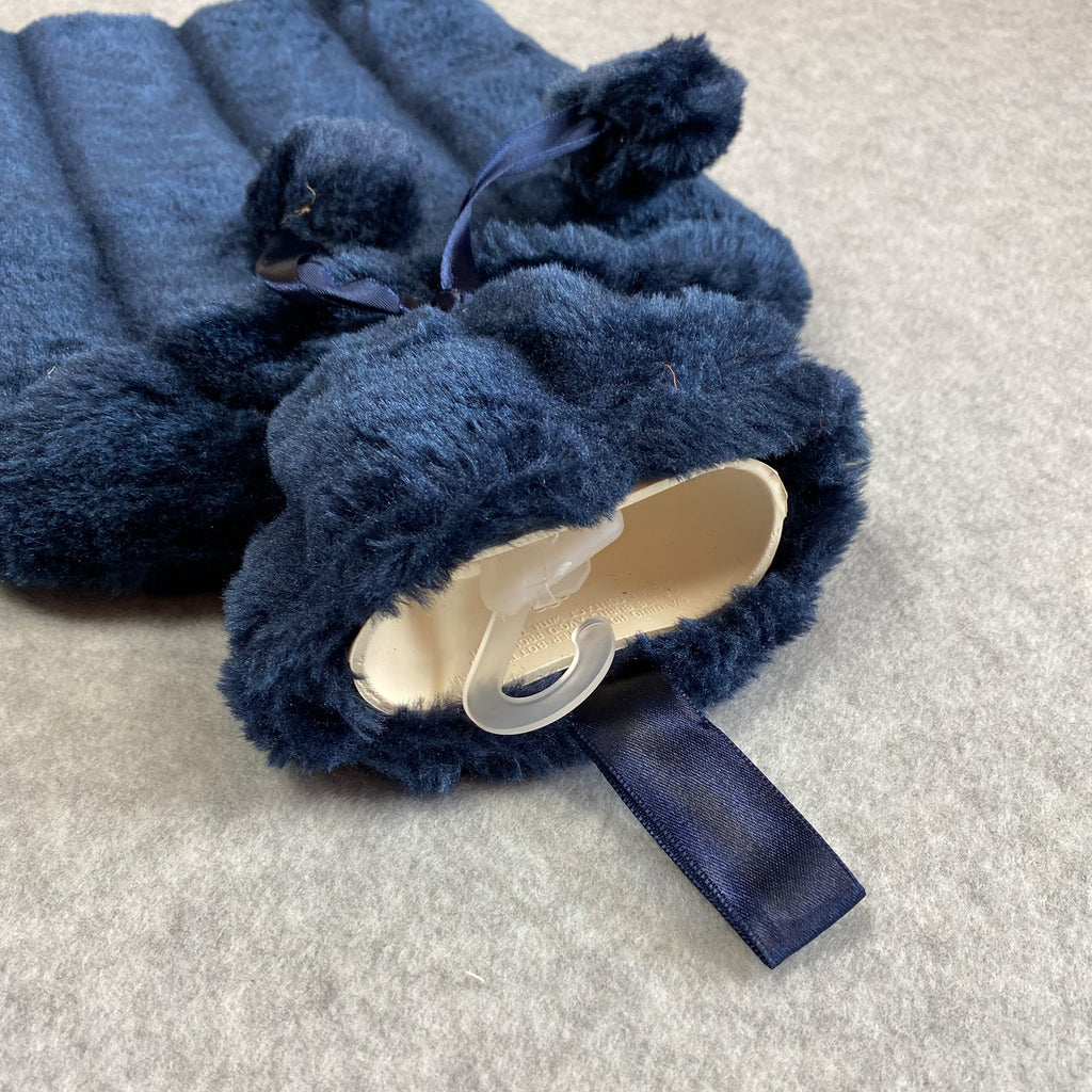 Faux Fur Hot Water Bottle - Navy