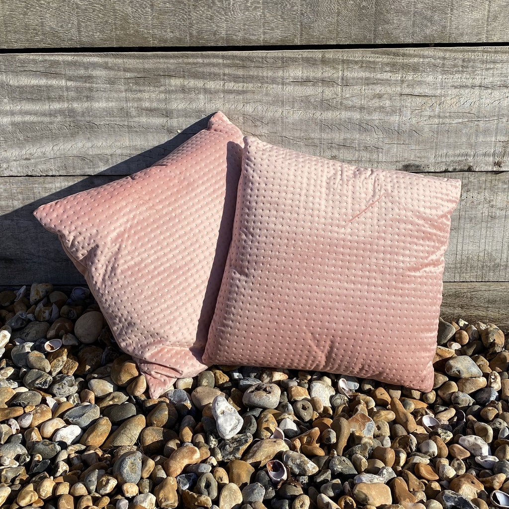 Pair of Blush Embossed Velvet Cushions