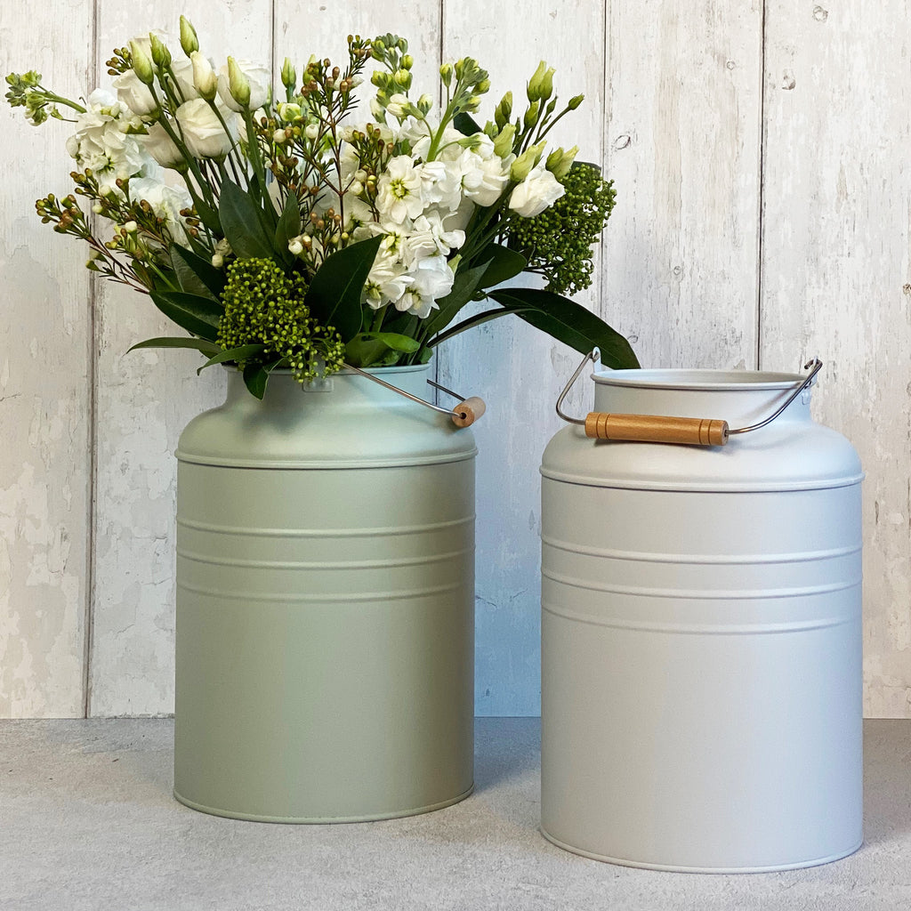 Pale Green Milk Can Planter