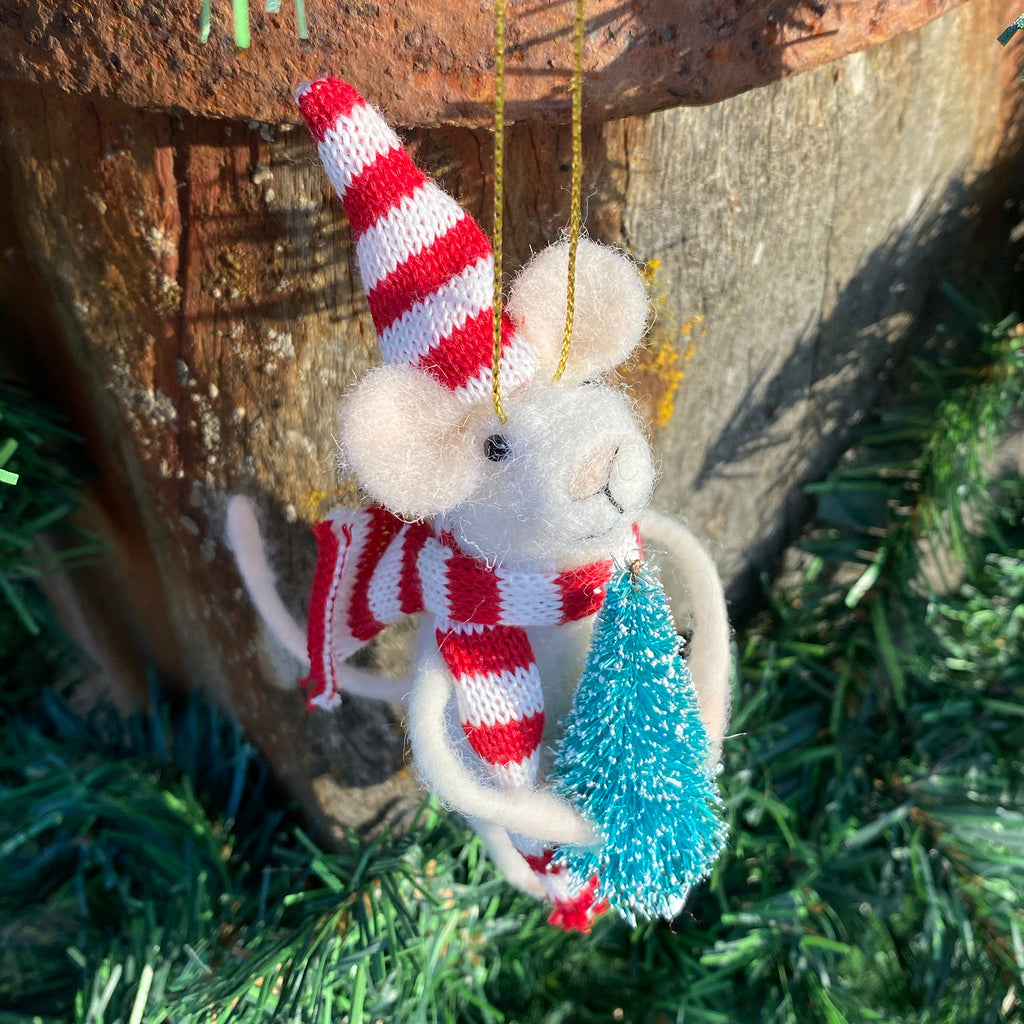 Striped Scarf Mouse Decoration