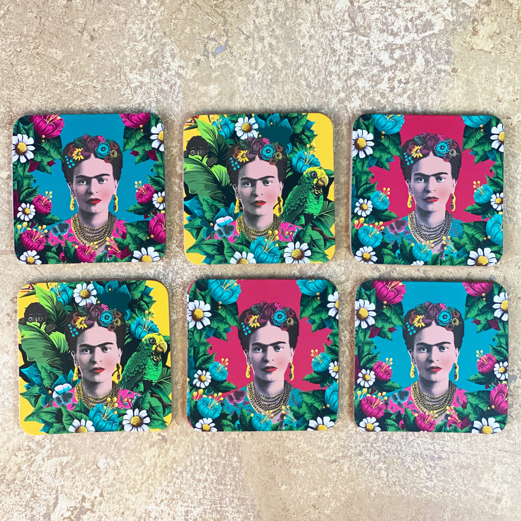 Six Frida Kahlo Drink Coasters