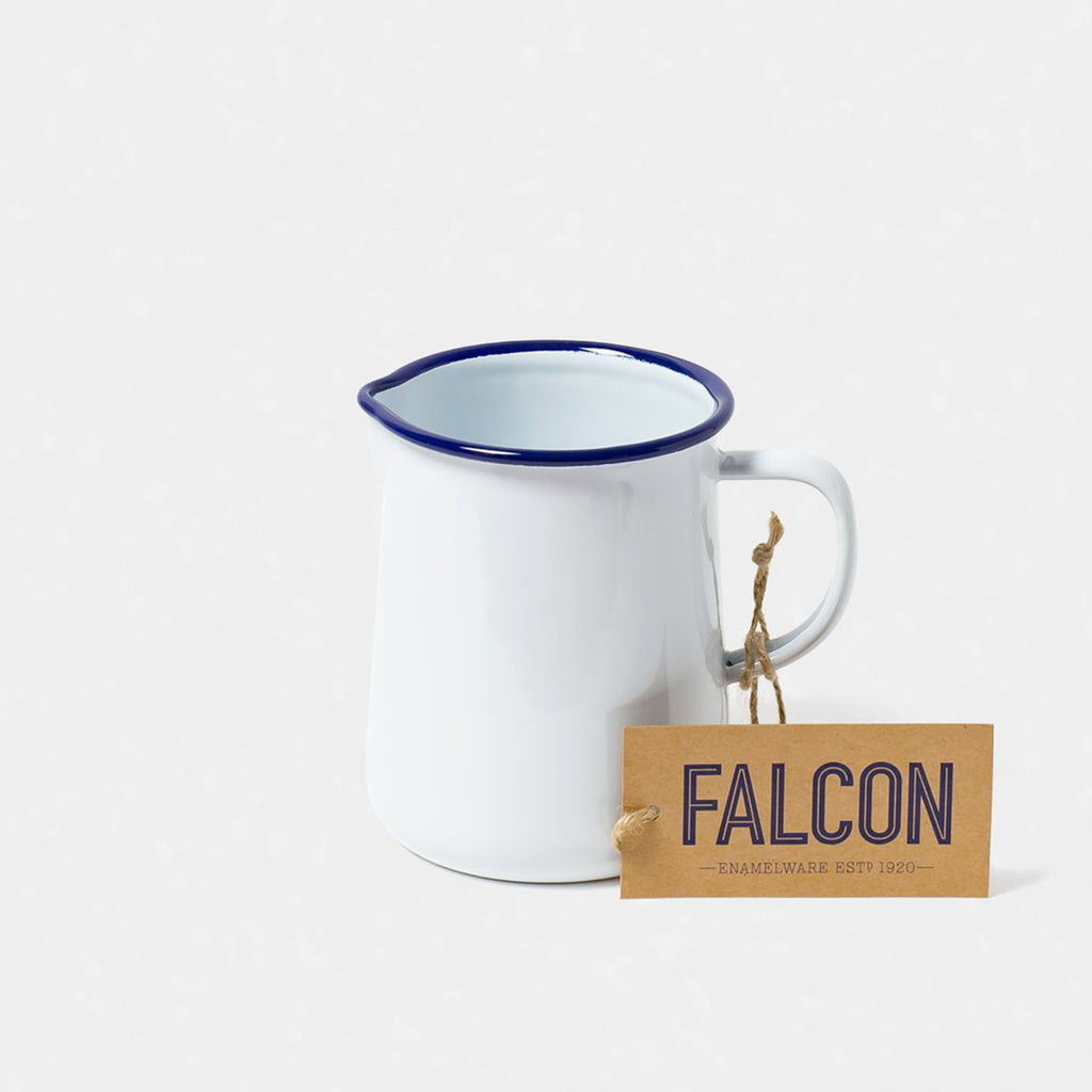 Falcon Enamel 1 Pint Jug - White With Blue Rim