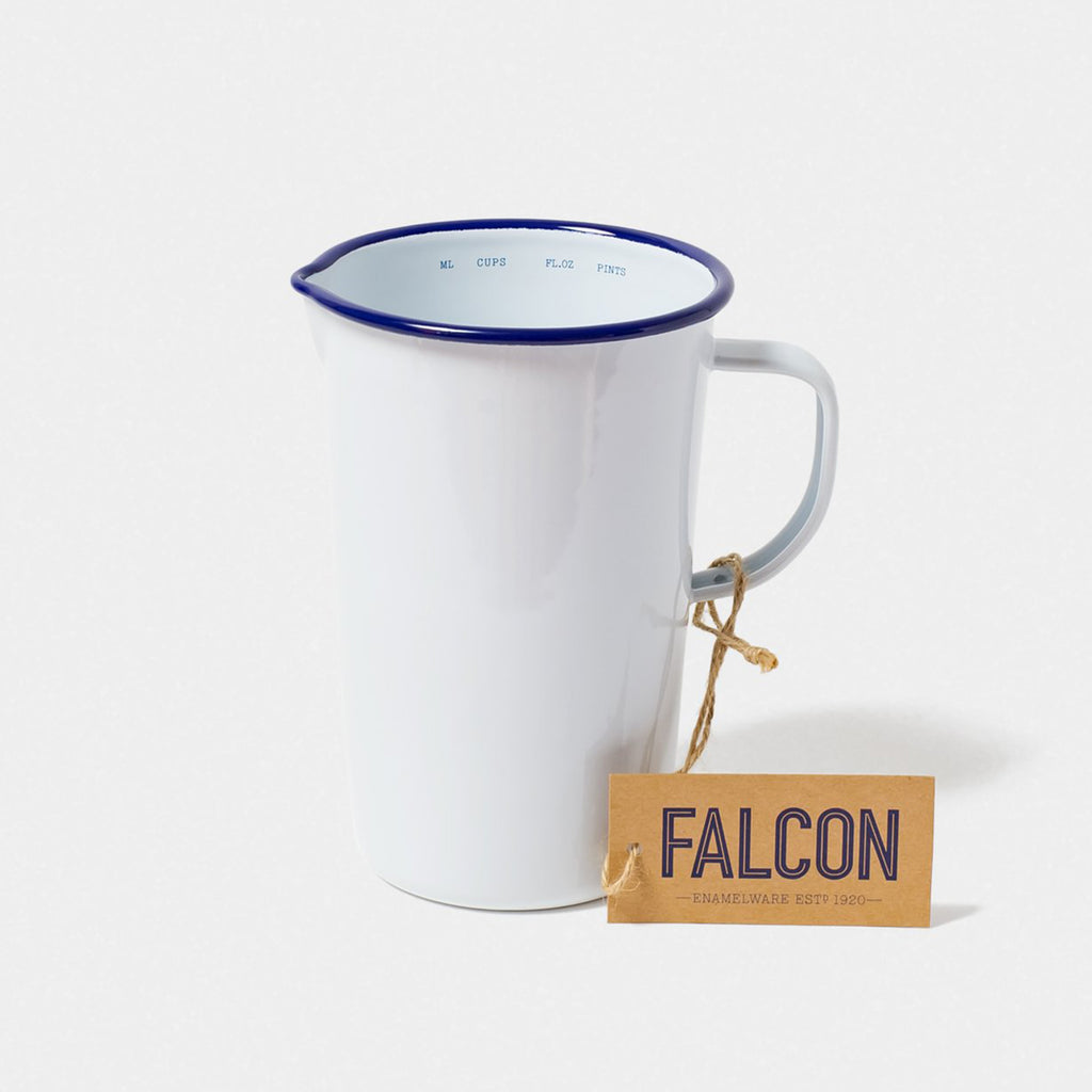Falcon Enamel 2 Pint Jug - White With Blue Rim