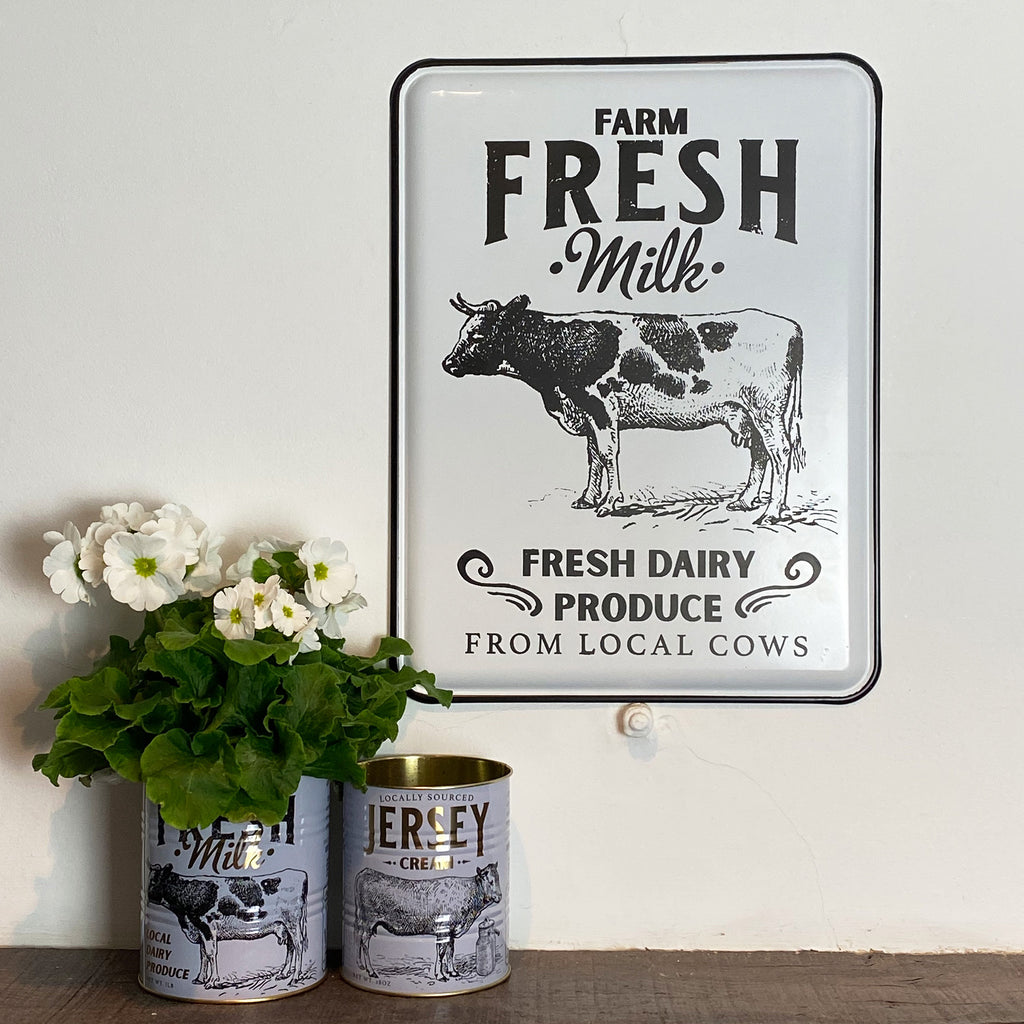 Fresh Milk Enamel Wall Plaque