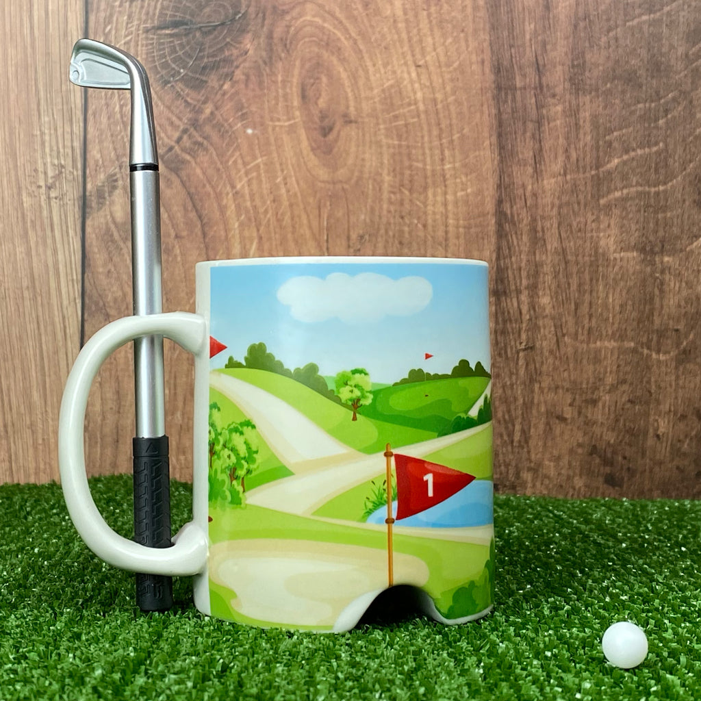 Golf Course Mug With Golf Club Pen & Ball