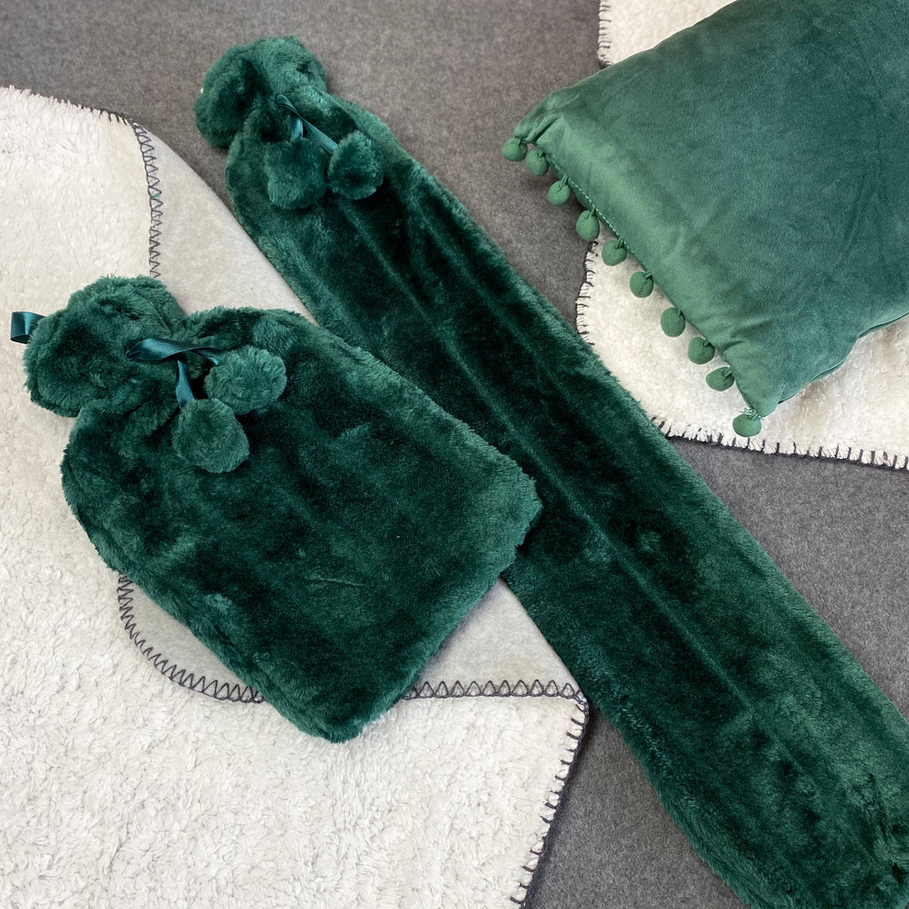 Faux Fur Hot Water Bottle - Fir Green