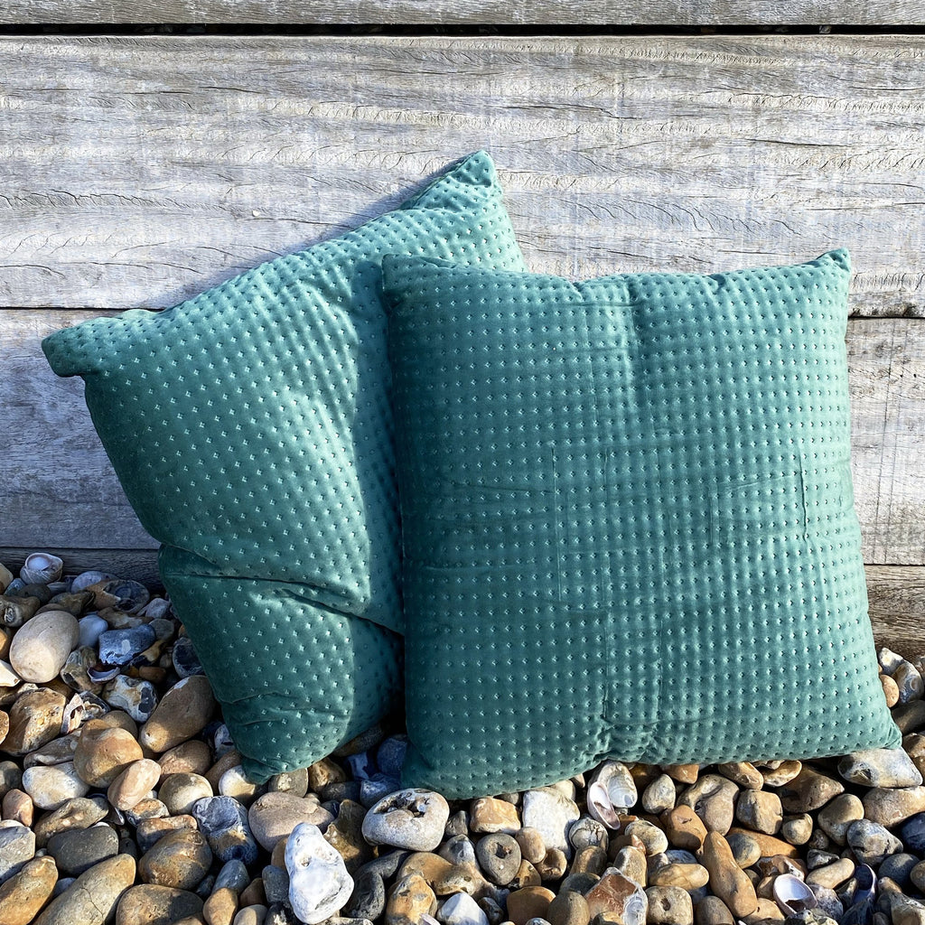 Pair of Embossed Green Velvet Cushions