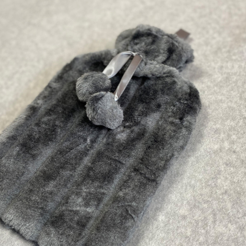 Faux Fur Hot Water Bottle - Charcoal