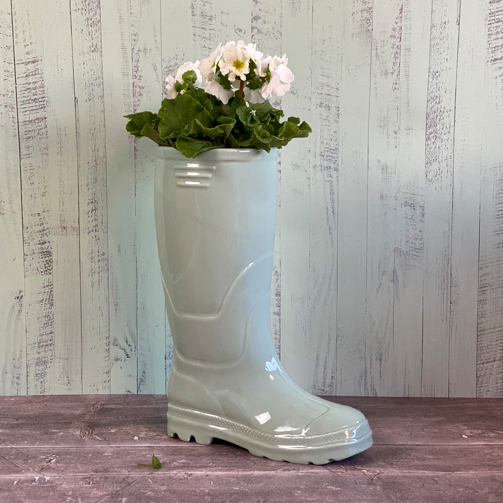 Green Wellington Boot Planter