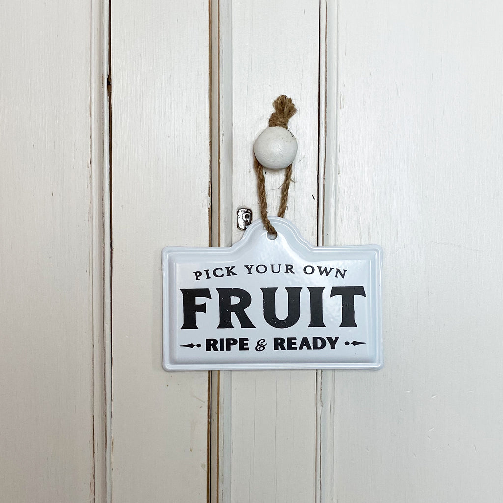 Hanging PYO Fruit Enamel Sign