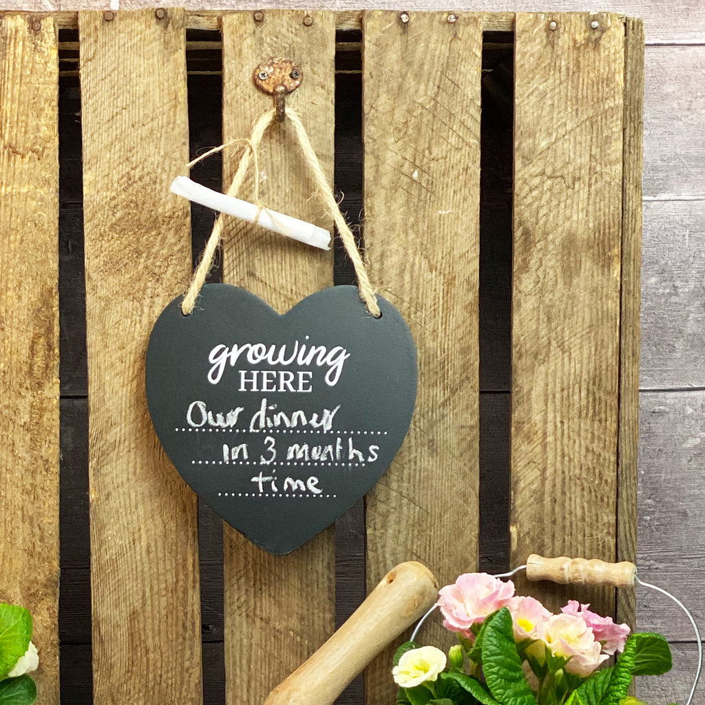 Growing Here Heart Chalkboard