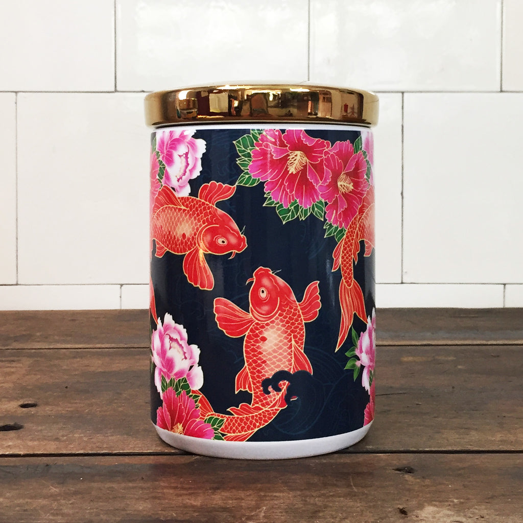Koi Carp Ceramic Canister with Lid