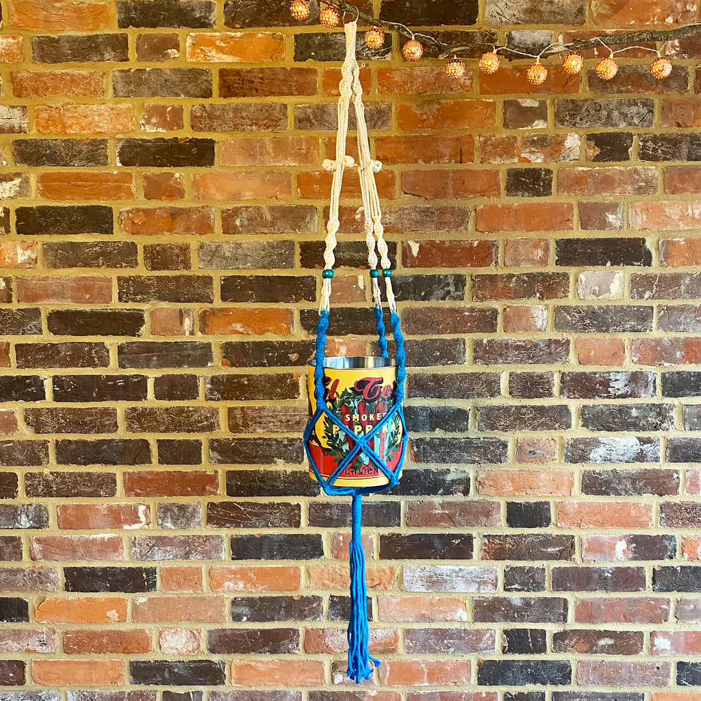 Large Blue Macrame Hanger