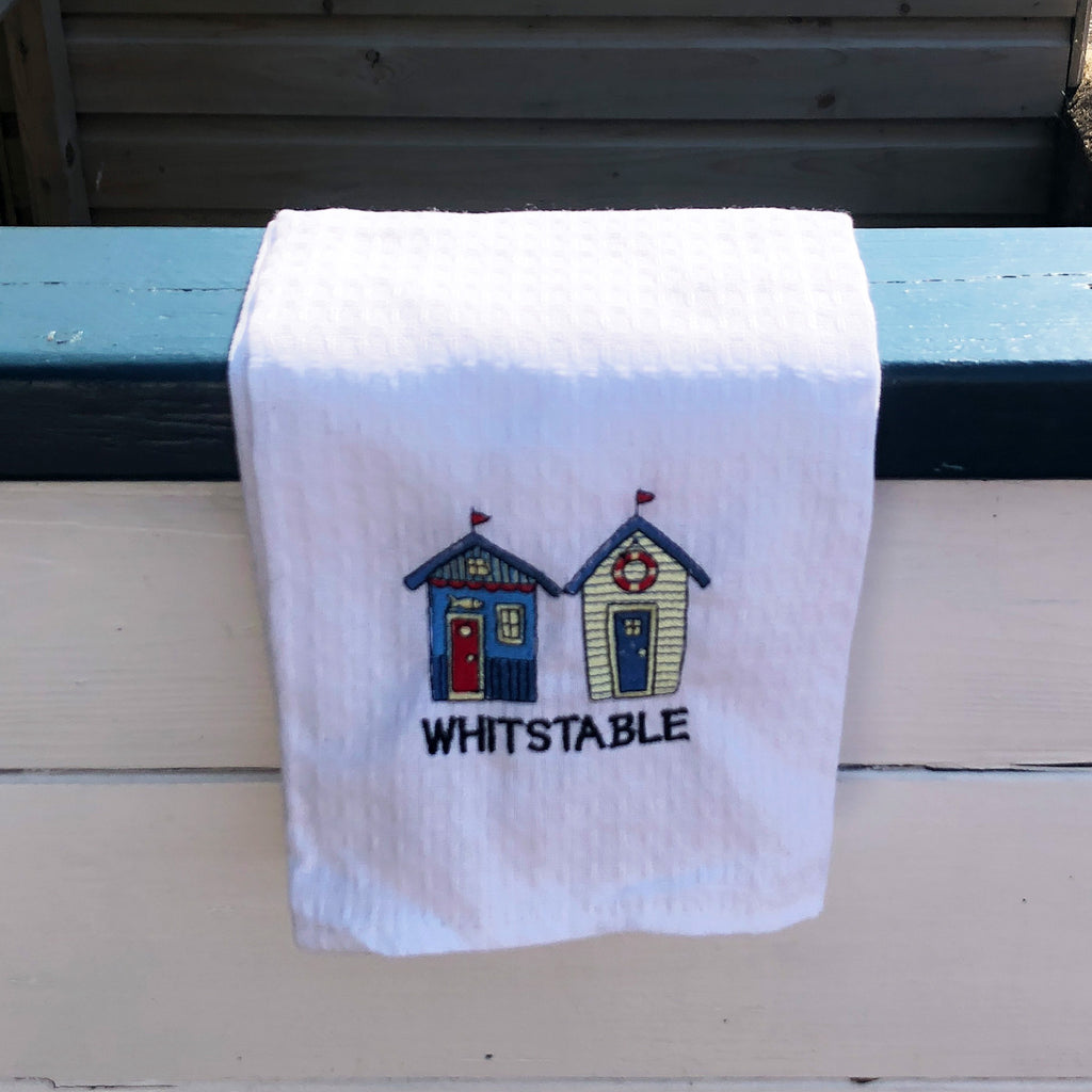 Whitstable Beach Hut Waffle Tea Towel