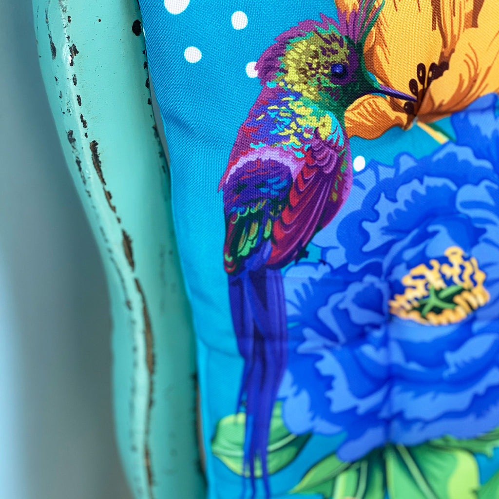 Mexican Floral Blue Seat Pad