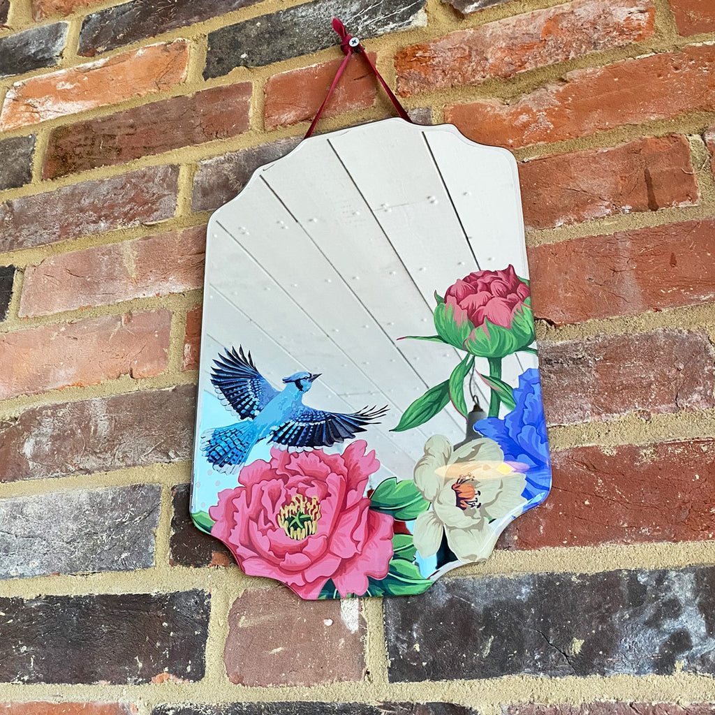 Mexican Floral Blue Jay Mirror