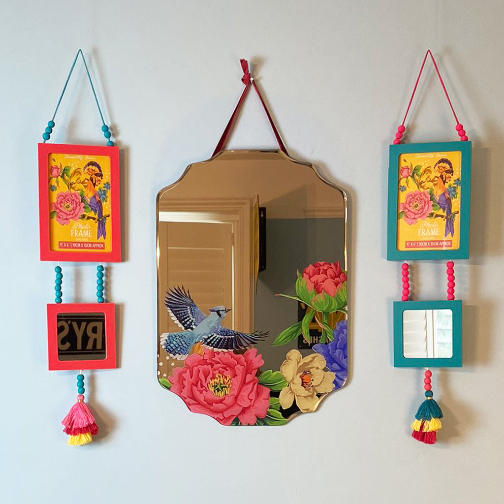 Mexican Floral Photo Frame Mirror