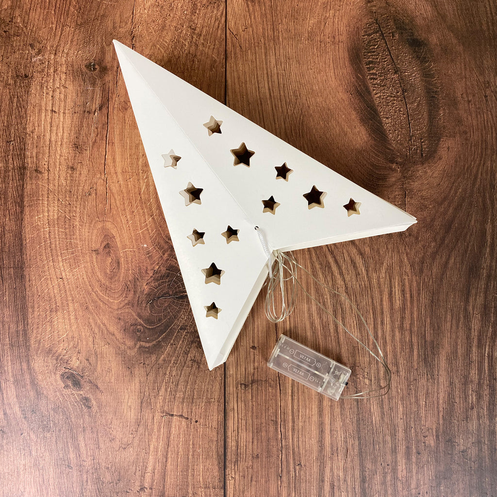 White Paper Star With 4 Warm White LED Lights