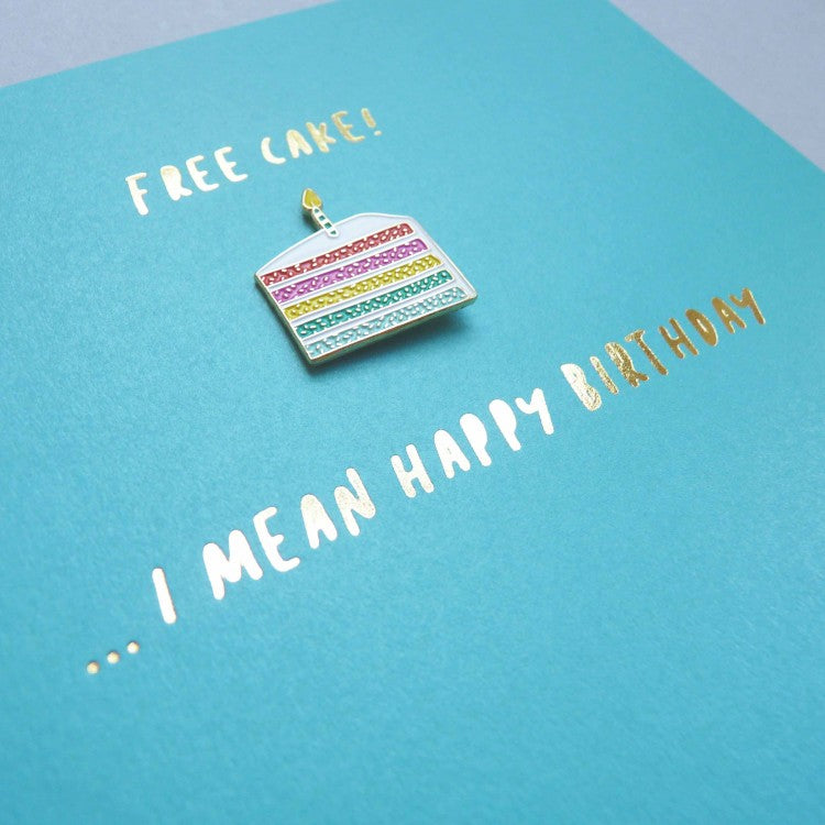 Free Cake Enamel Pin Card