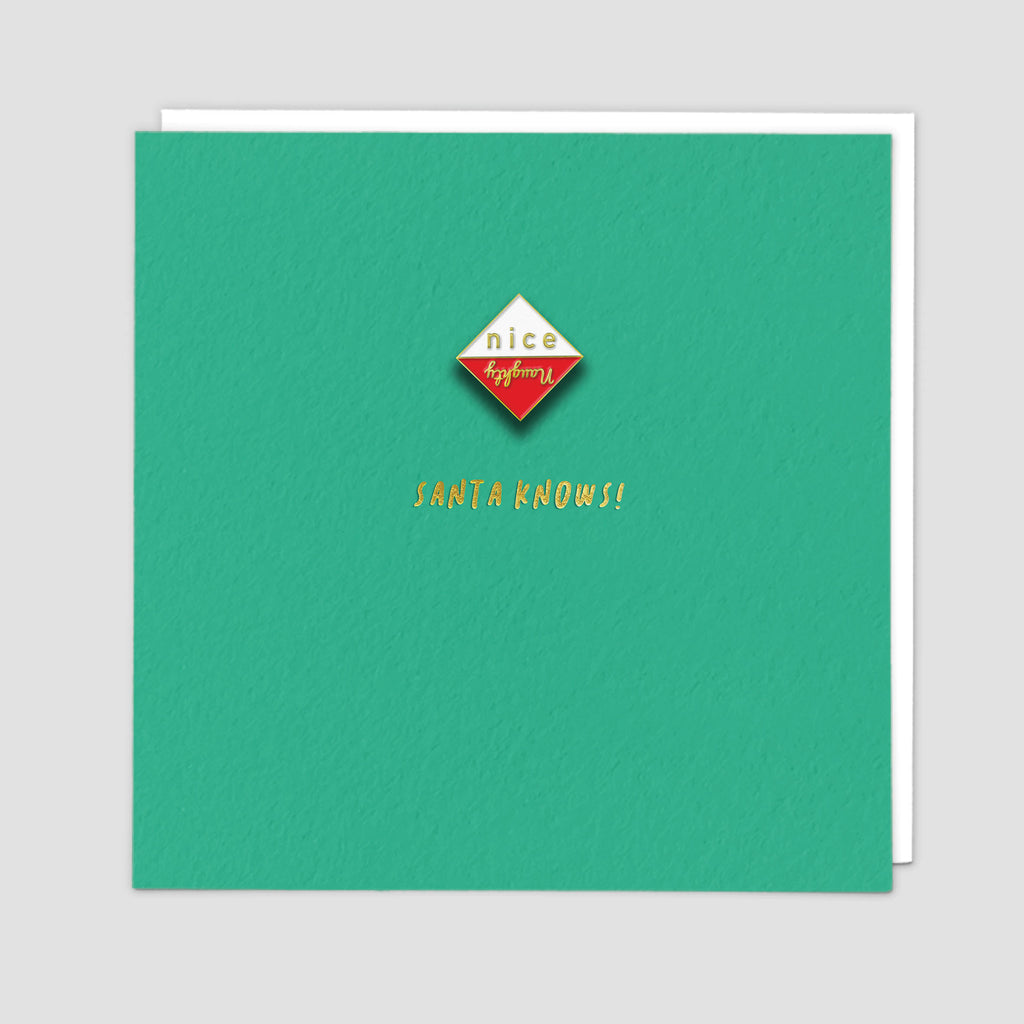 Enamel Pin Naughty or Nice Christmas Card