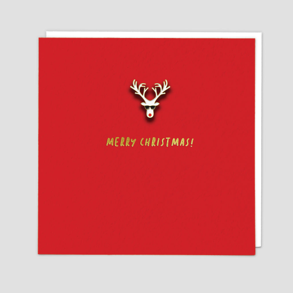 Enamel Pin Rudolph Christmas Card