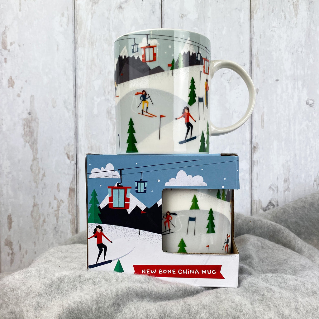 Peak Season Ski Design Porcelain Mug