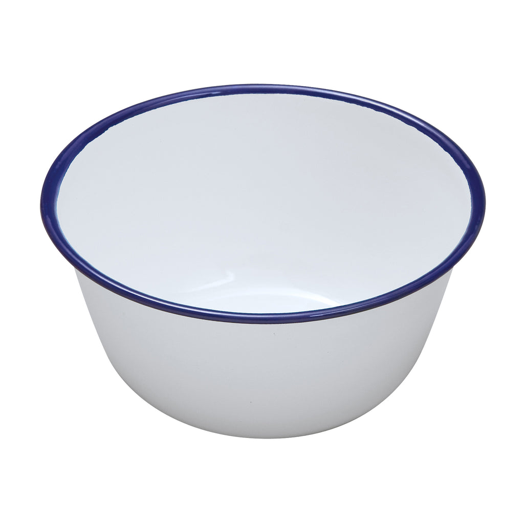 White Enamel Pudding Basin - 18cm