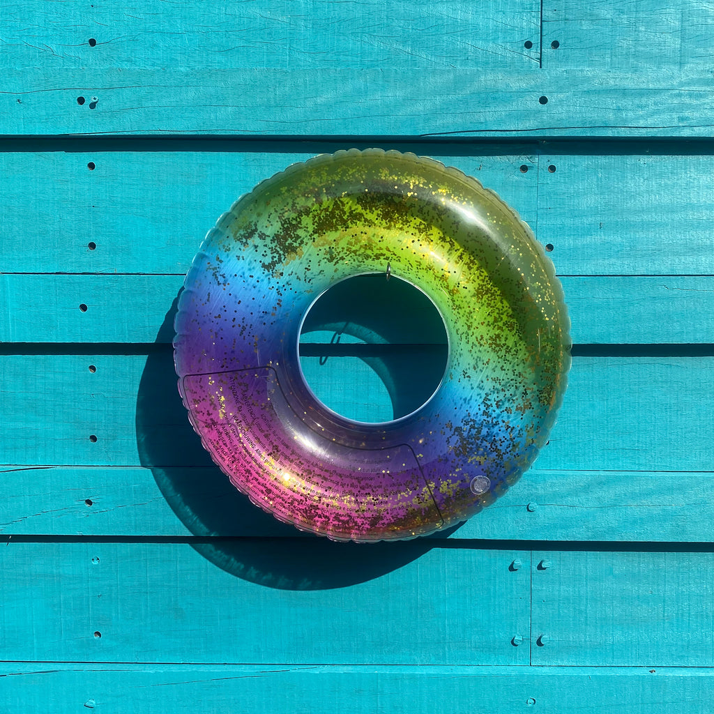 Swim Ring Rainbow Print Glitter