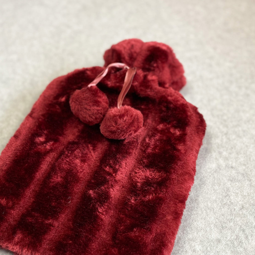Faux Fur Hot Water Bottle - Ruby Red