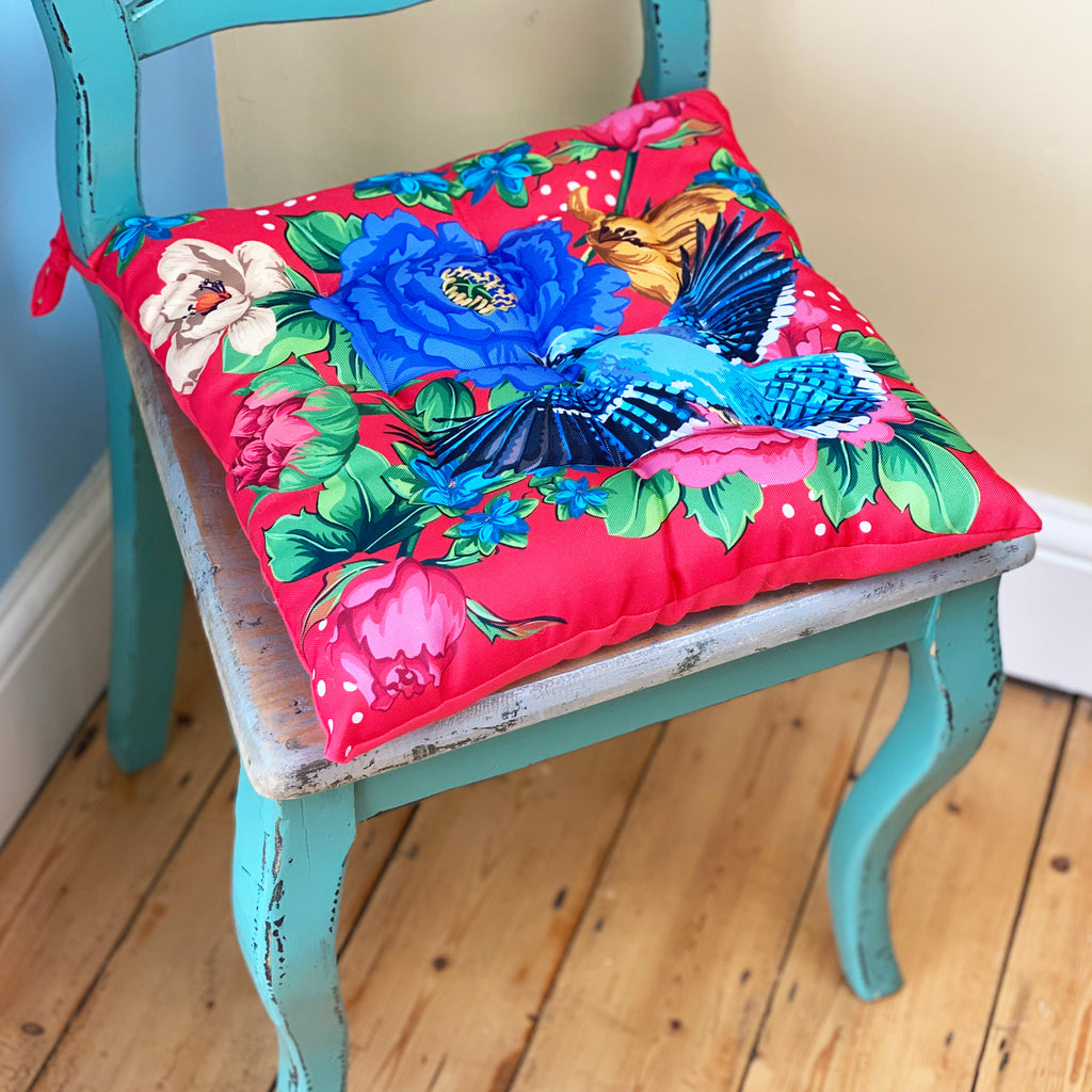 Mexican Floral Red Seat Pad