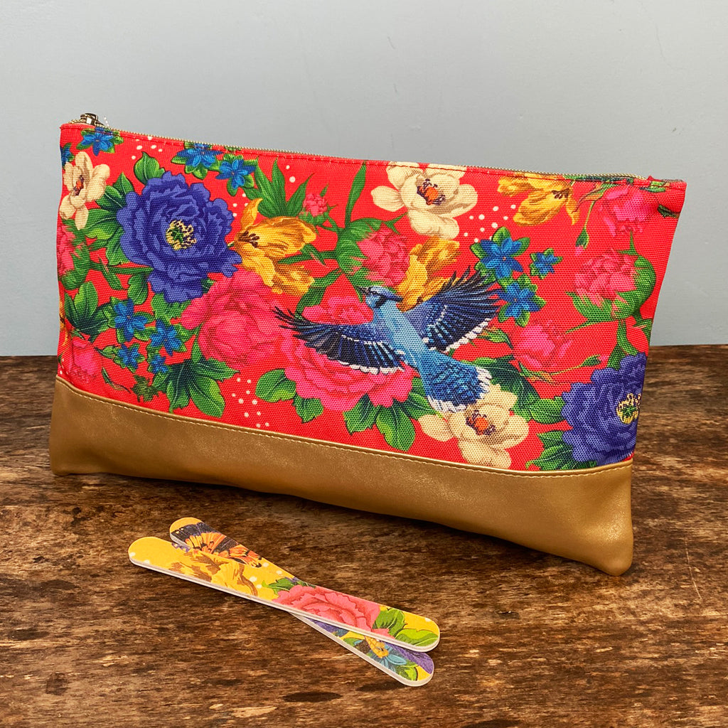 Red Mexican Floral Toiletry Bag