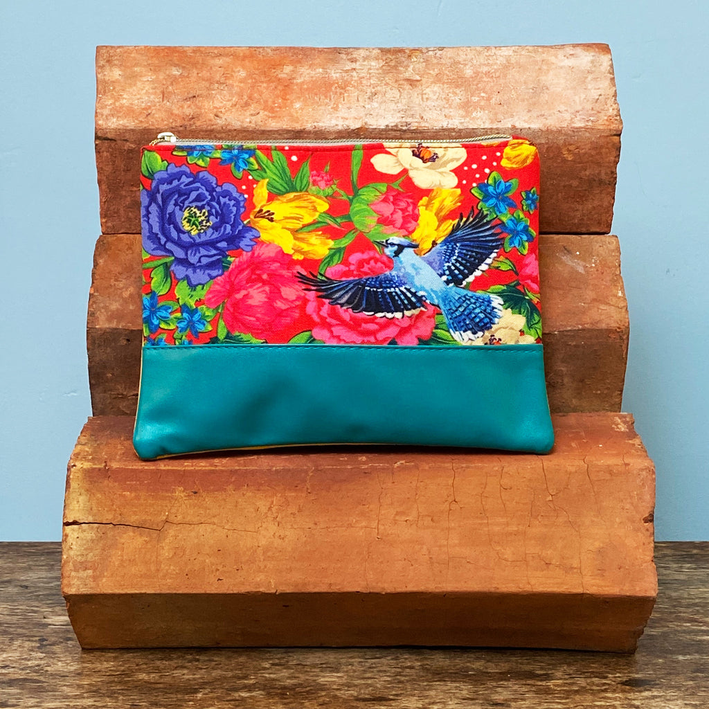 Red Mexican Floral Cosmetics Bag