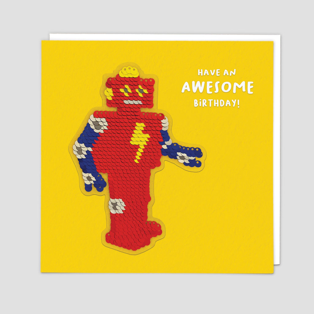 Sequin Robot Shine Card