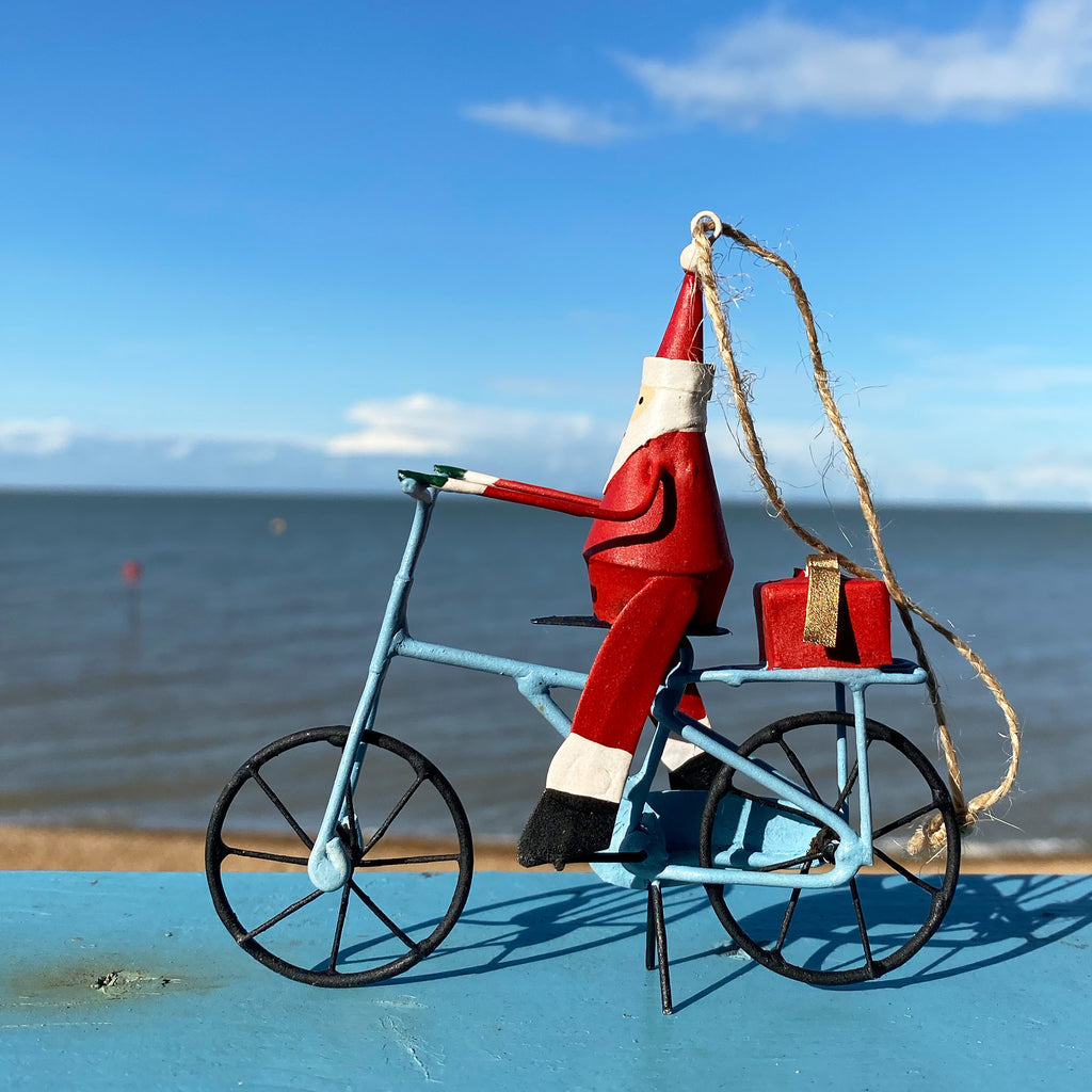 Santa On A Bike Decoration