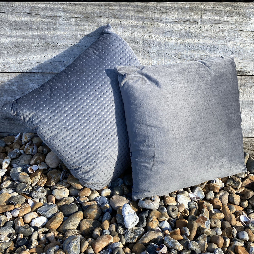 Pair of Embossed Grey Velvet Cushions
