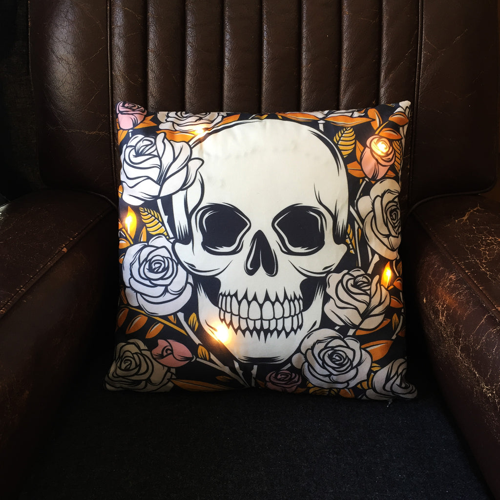 Skulls and Roses Light-Up Cushion