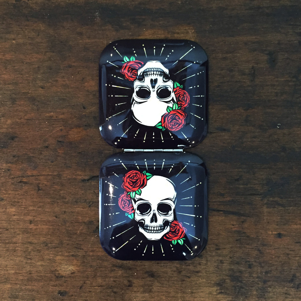 Skulls and Roses Compact Mirror