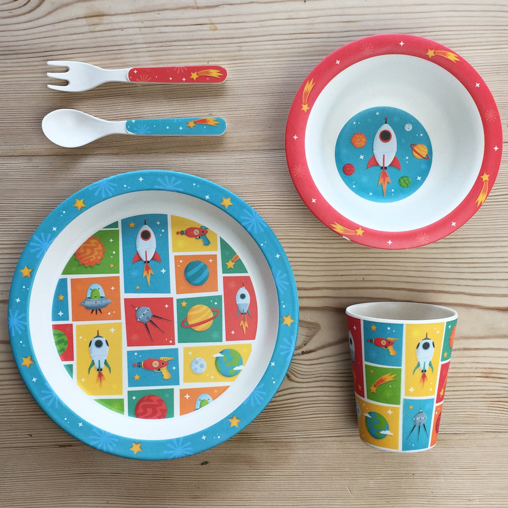 Kids Bamboo Plate Set - Space Cadet