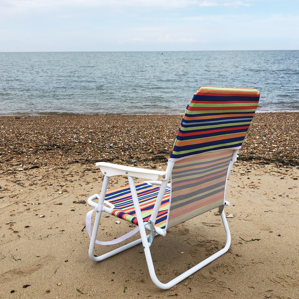 Stripe Low Folding Beach Chair