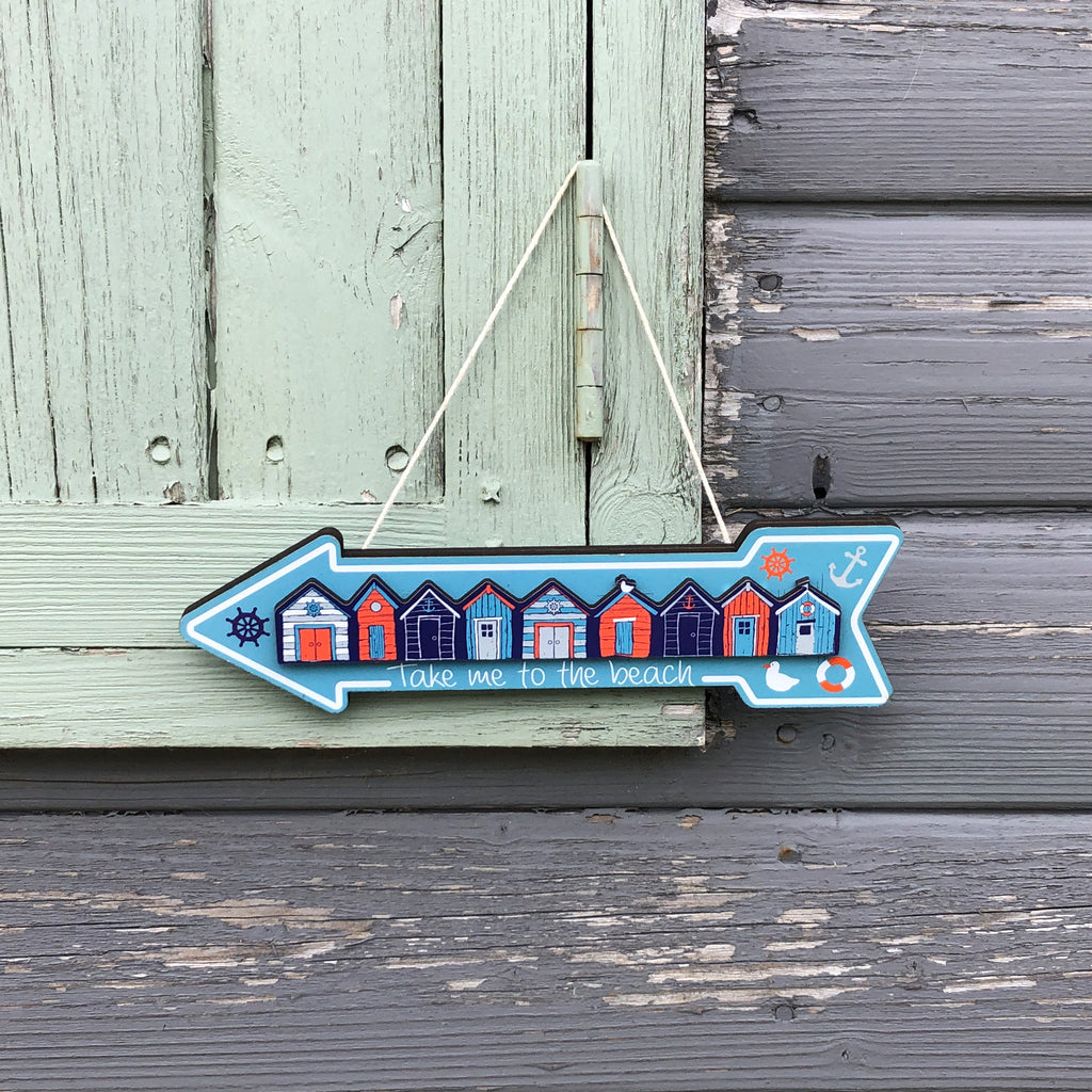 Take Me To The Beach Arrow Wooden Sign