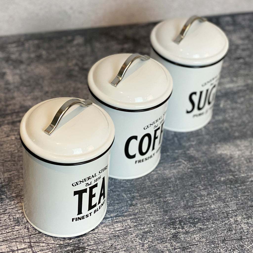 Tea Coffee Sugar Tin Trio