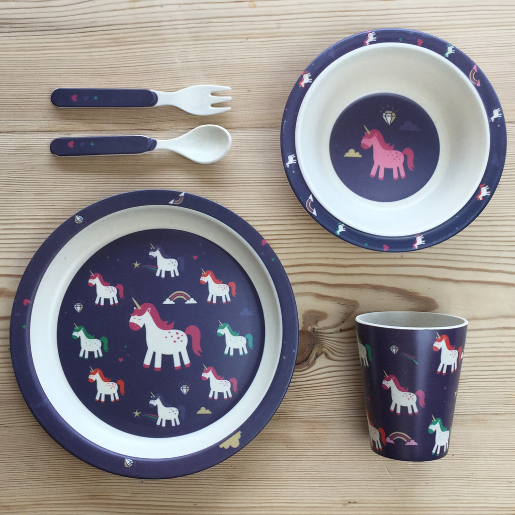 Kids Bamboo Plate Set - Unicorn