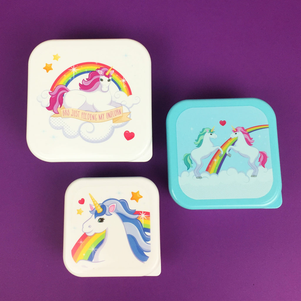 Set of 3 Unicorn Snack Boxes